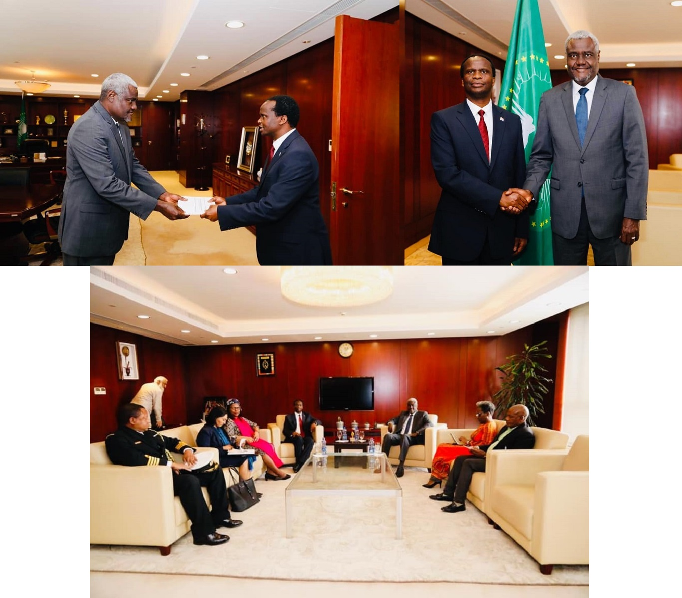 H.E Ambassador Edward Xolisa Makaya Presents Letters of Credence to the Chairperson of the African Union Commission H.E Mr Moussa Faki Mahamat
